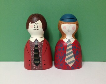 Vintage School Boy and Girl Banks, Made in Japan