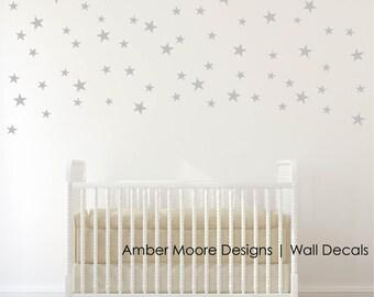 Silver Stars Wall Decals - Confetti Silver Star Decals- Silver Wall Decal Stickers - Set of 110 Stars