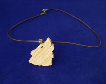 Wolf in Birch wood and brown leather pendant