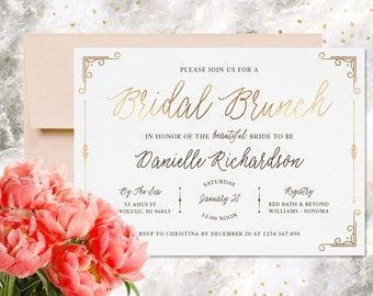 Bridal Shower Invitation, Printable, Bridal Brunch, Wedding Shower Invitation, Modern Calligraphy, Gold Foil