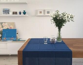 Free shipping. Dark Blue, Navy Linen Table Runner. 25'' x 57'' (65 x 145 cm)