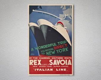 Rex&Conte di  Savoi, Italien Line Vintage Travel Poster - Poster Print, Sticker or Canvas Print / Gift Idea