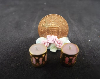 1/12 Scale Dollhouse Candles in Holders, Pink