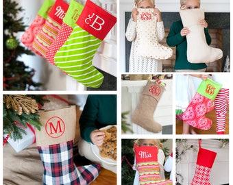 Monogram Christmas Stocking, Christmas Stocking, Personalized Christmas Stockings, Burlap Stocking, Plaid Stocking, Christmas Decor