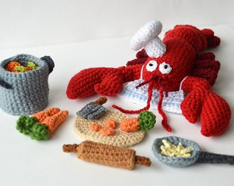 Lobster Chef Crochet Pattern, Lobster Crochet Pattern, Animal Crochet Pattern, Kitchen Amigurumi Pattern, Seafood Crochet Pattern