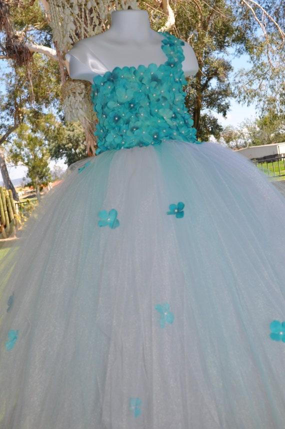 Turquoise white flower girl dress toddler flower girl dress like this item mightylinksfo