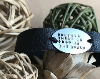 Believe There is Good in the World leather hand-stamped wrap bracelet