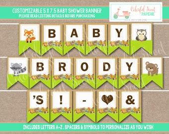 Instant Download, Woodland Shower Banner, Woodland Printable Baby Shower Banner, Woodland Baby Shower Printables, Woodland banner #0003