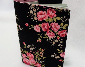 Black and Pink Rose Design Passport Cover - Rose Design Passport Holder - Fabric Passport Case - Travel Wallet - Wild Rose Design