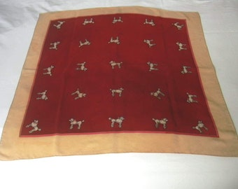 French Poodles Dogs Hand painted Charming Motif  Silk  Scarf