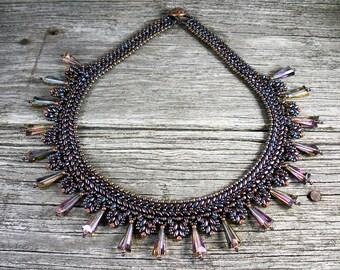 "SOLD! Beadweaving:  Superduo Petite ""Collar"" Necklace in  Bronze-Iris with Swarovski Crystal"