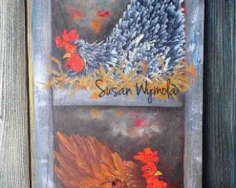 "11"" X 22"" #406 Chickens in Nest Original Art hand painted Acrylics"
