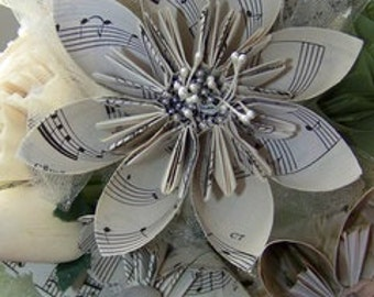 Vintage Wedding Bouquet Includes 20 Plus Handmade Vintage Sheet Music Flowers, Book Page, Map, Your Choice
