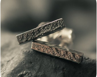 New Moon Textured Bar Earrings in Oxidized Sterling Silver