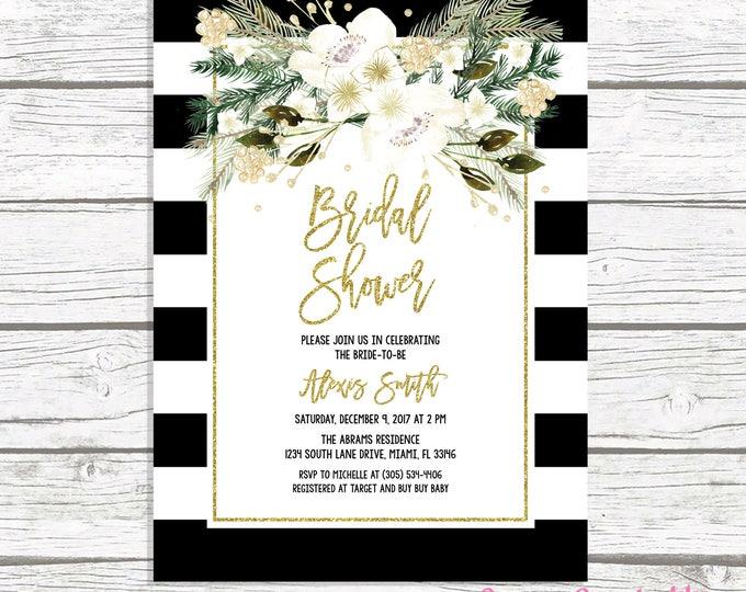 Christmas Bridal Shower Invitation, Black and White Stripe Bridal Shower Invitation, White and Gold Bridal Shower, Christmas Floral Invite
