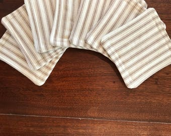 Ticking stripe fabric coasters, fabric coaster set, set of 6, quilted coasters, bridal shower gift, hostess gift, farmhouse coasters