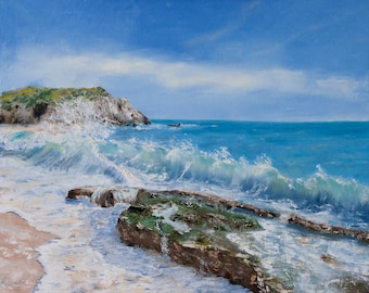 Reproduction of the seascape painting of sea beach, ocean shore, wavy beach art, marine painting,  FREE US SHIPPING