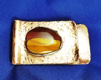 Money Clip, Copper Money Clip, Mookaite Jasper, Business Card Holder, Artisan Money Clip, Artisan, Handmade in the USA