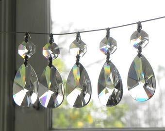 12 forme d'amande sans plomb pendentifs Chandelier mural applique Suncatcher lampe des pièces de cristal