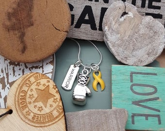 GO-2 Endometriosis Necklace Suicide Awareness Jewelry Sarcoma Warrior Boxing Glove Charm Spoon Theory Spoonie Jewelry