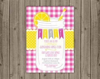 Pink Lemonade Printable Invitation - Pink Lemonade Birthday Invitation - Lemonade Stand Birthday Invitation - 5x7 JPG DIGITAL FILE