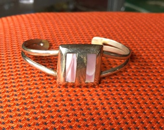 Vintage Mexico Silver and Pink River Shell Bracelet Cuff
