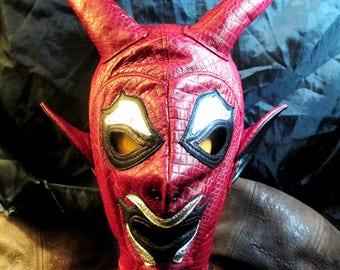 Leather Red Devil Full Hood, Satan Horns Ears for Halloween, Easter or Fetish Cosplay, Red Devil Mask
