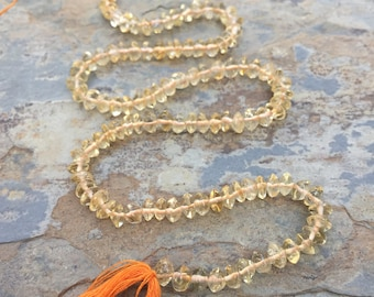 Citrine Rondelles, Citrine Beads, smooth rondelles, 14 inch strand, 5 to 5.5mm