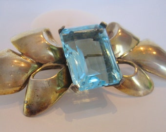 Sterling Brooch, 18 x 24 mm Aqua Cushion Cut Crystal Stone