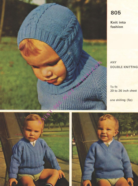 Balaclava Pattern, Baby Helmet Pattern, Vintage Knit, Child Knit ...