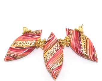 3- Rich orange gold Polymer Clay striped spike beads, leaf shaped beads, unique Marquise beads with gold, Ombre beads for Jewelry making