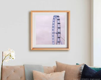 London Eye Print.  Urban photography, UK, dusk, lilac, ferris wheel, decor, wall art, artwork, large format photo.