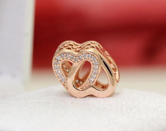 Authentic Pandora Rose Gold Entwined Hearts Love Bead 781880CZ