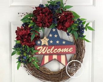 Patriotic Wreath, Welcome Wreath, Star Wreath, Americana Wreath, Front Door Wreath, Hydrangea Wreath, Red White Blue Wreath, Grapevine