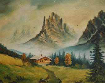 Vintage oil painting mountain landscape house