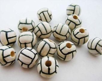10 Ceramic Beads - Volleyballs - Large (12mm)