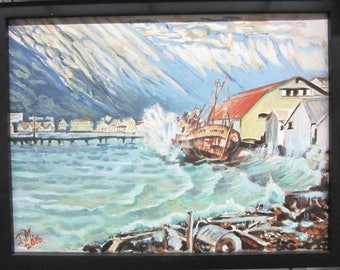 Original Oil Painting on  Canvas Iceland View