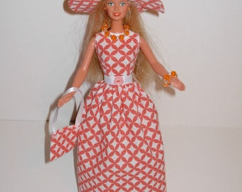 Handmade Barbie clothes - Beautiful gown with hat necklace bracelet and bag 4 barbie doll