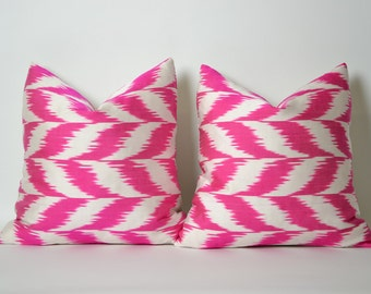Set Of 2 Neon Pink Silk Ikat Pillow Cover Pink Ikat Pillow Pink White Throw Pillow Decorative Pillow Cushion Organic Shine Modern Home Decor