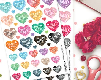 Watercolor Date Night Stickers | Sleep Over Stickers | Heart Stickers | Planner Stickers | Tumblr Stickers