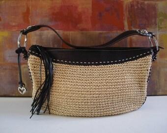 BRIGHTON Handbag Black Leather Woven Straw Hobo Bag