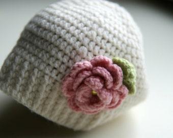 Crochet baby beanie, cream hat crochet, baby hat with flower