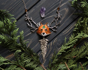 Fox Polymer Clay Necklace, Totem Animal Jewelry, Forest Habitant Pendant, Fox Lover Gift, Woodland Jewelry, Fox Charm