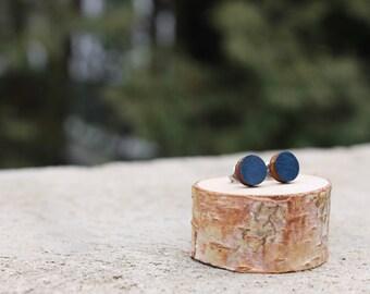 Navy Geometric Wood Earrings // Blue Earrings // Wood Earrings // Circle Earrings // Navy Studs