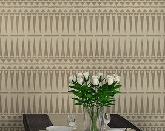 Tribal Allover Large Wall Stencil for a Wallpaper Look