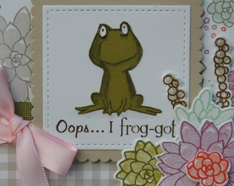 Oops... I frog-got!, Belated Birthday card, Frog Card