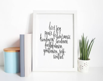Fruits of the Spirit Print - Christian Prints - Galatians 5 - Faith Prints - Confirmation Gifts - Ordination Gifts - Eco Friendly