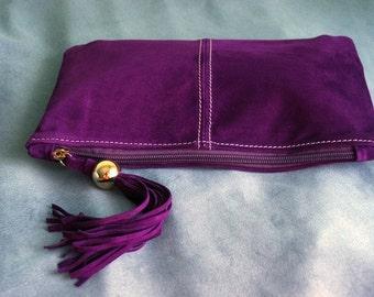 Purple Suede Clutch with Tassel art.S68R41