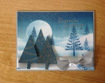 Stampin Up handmade Christmas card - Winter snowy landscape