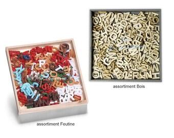 """Box wood or """"Alphabet"""" felt ornaments"""